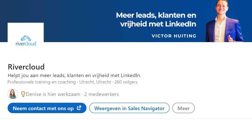 LinkedIn bedrijfspagina Rivercloud