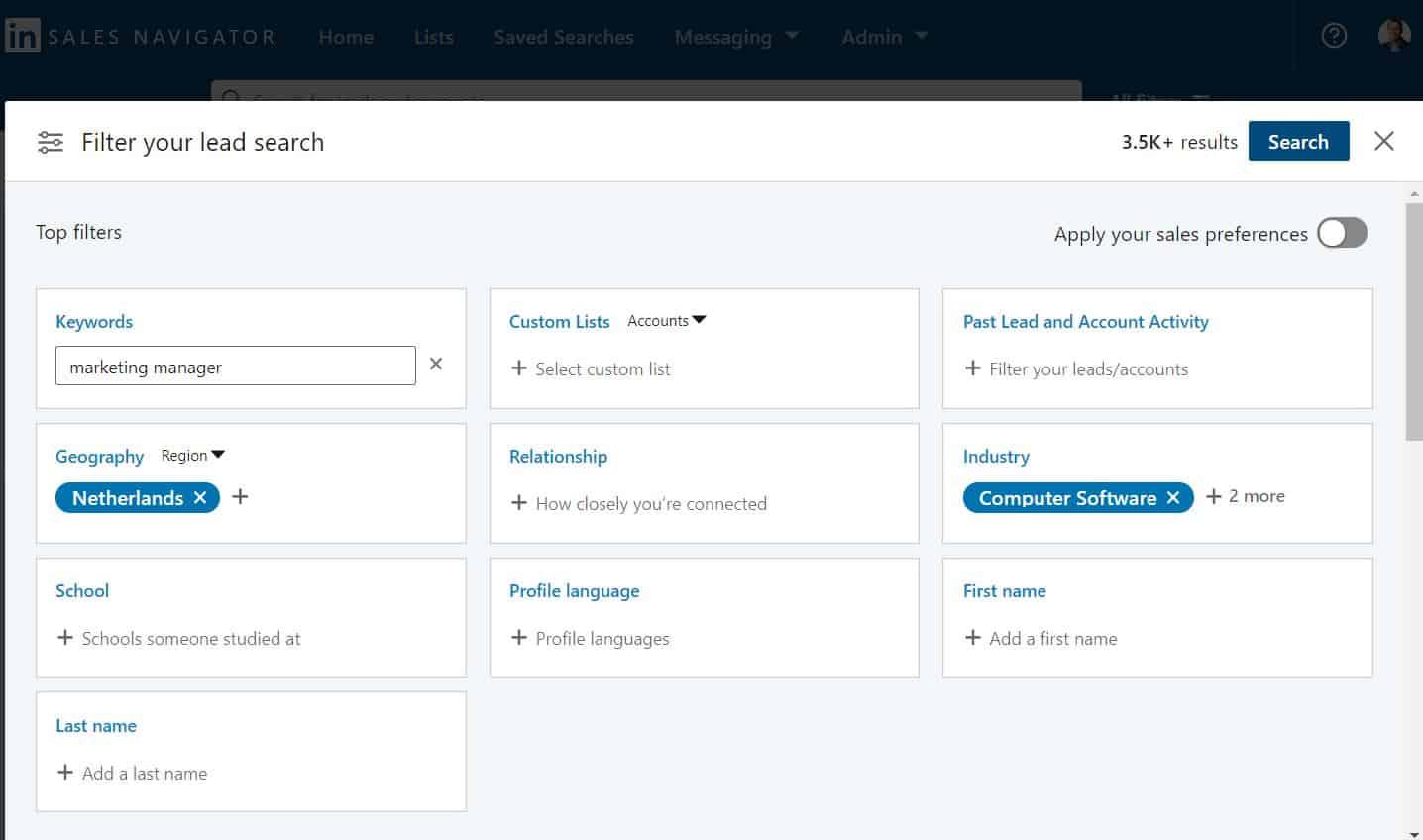 hoe filteren in linkedin sales navigator