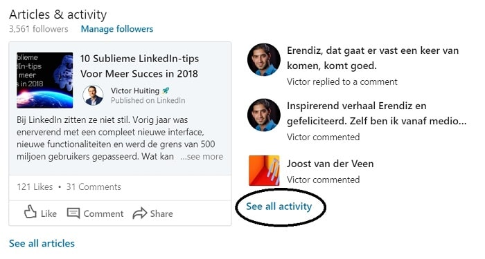 see all activity LinkedIn