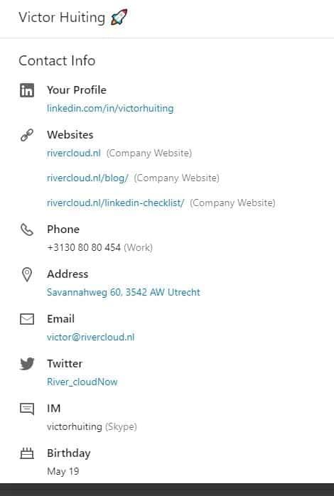 contact info Linkedin profiel