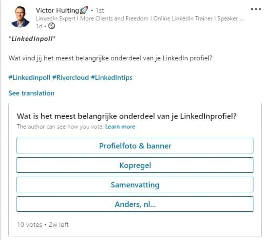 screenshot resultaten LinkedIn Poll Victor