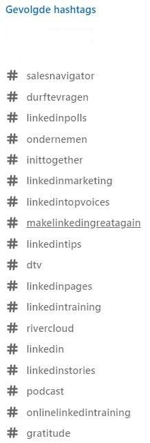 gevolgde Linkedin hashtags victor huiting