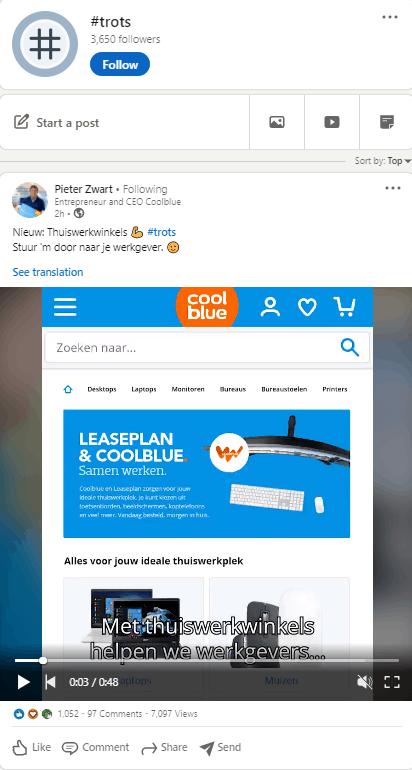 LinkedIn hashtag Coolblue