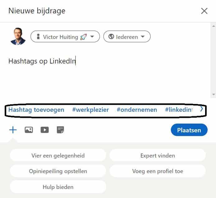 hashtags in status update LinkedIn
