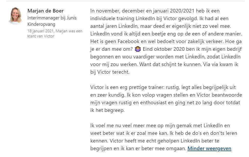 Linkedin aanbeveling Marjan de Boer Marcato voor Victor Huiting